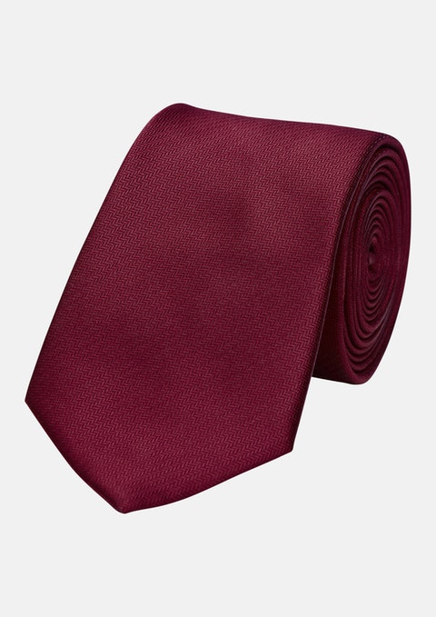 Red Herringbone 6.5cm Tie