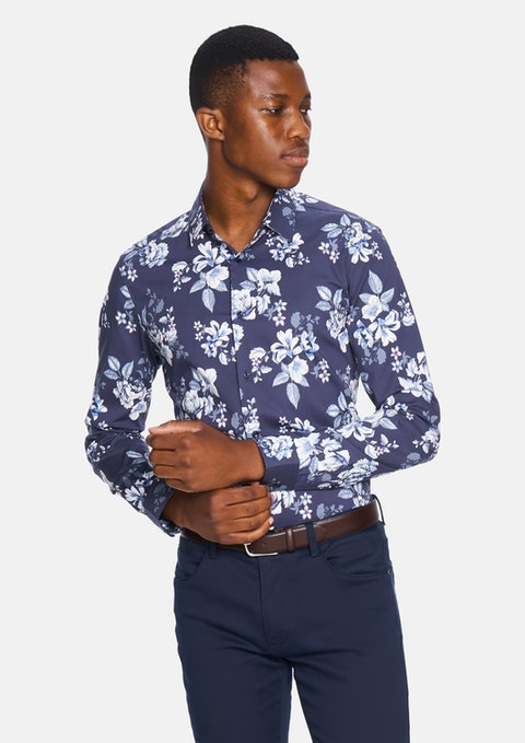 Dark Blue Rome Print Slim Shirt