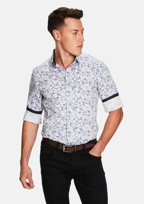 Blue Frenchie Print Slim Fit Shirt
