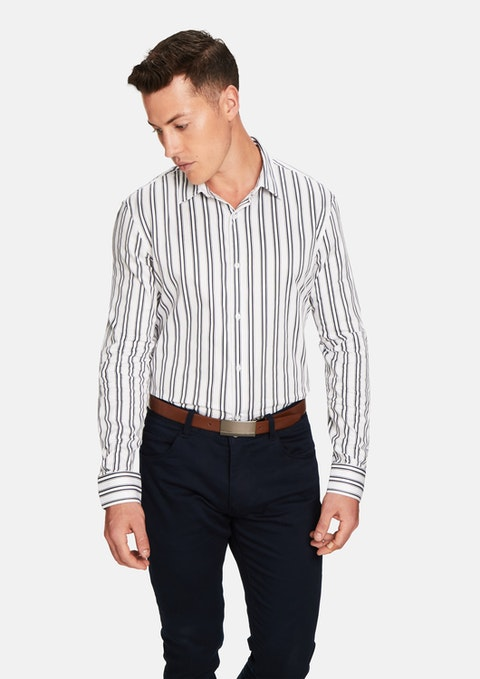 White Colin Stripe Shirt