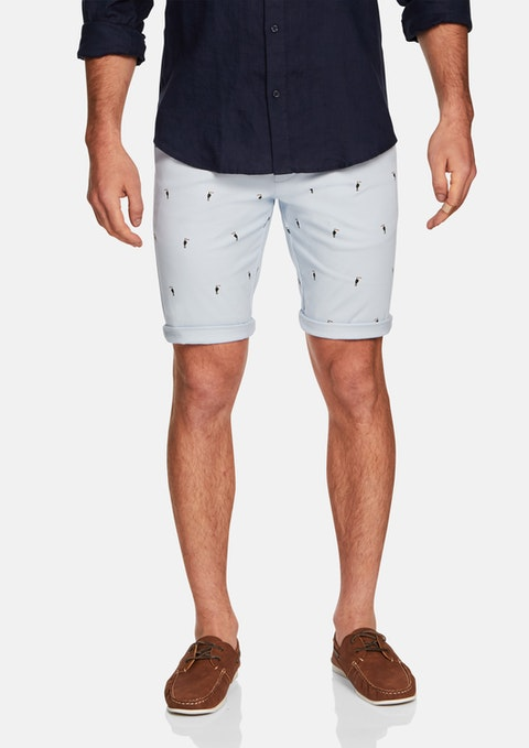 Light Blue Shore Printed Short