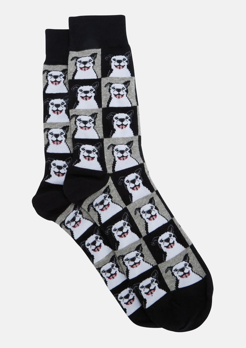 Black Smiley Dog Sock