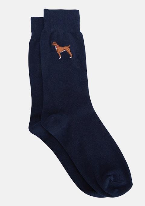 Navy Boxer Dog Sock