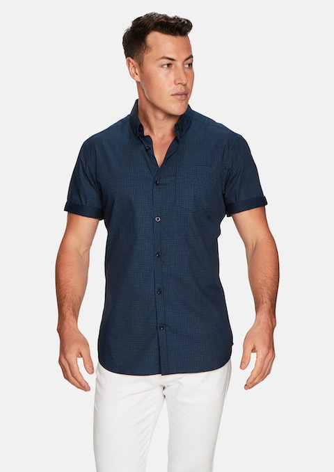 Mid Blue Ellis Spot Shirt