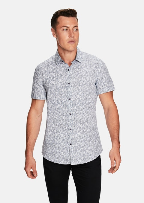 Navy Pike Paisley  Ss Shirt