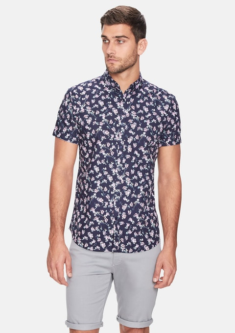 Dark Blue Levin Floral  Ss Shirt