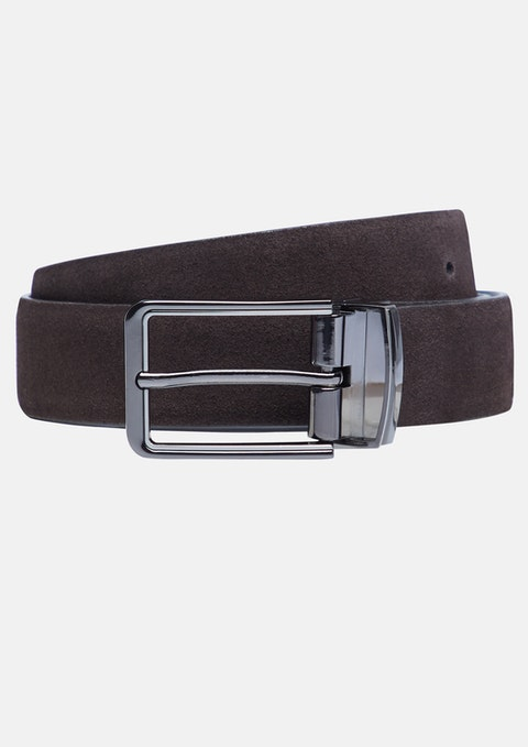 Chocolate Tuscan Suede Reversible Belt