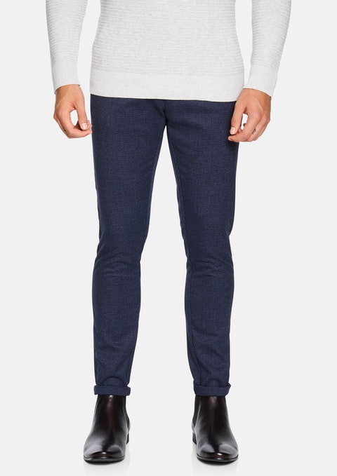 Blue Check Kappa Skinny Chinos
