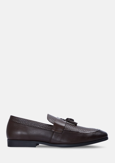 Chocolate Patel Textured Loafers