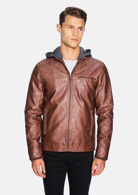 Tan Hooded Cassan Biker Jacket
