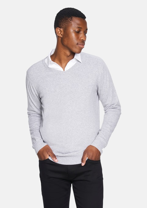 Light Grey Shay V Neck Lightweight Knit