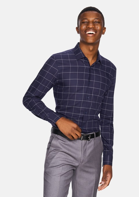 Navy Manny Check Slim Fit Dress Shirt