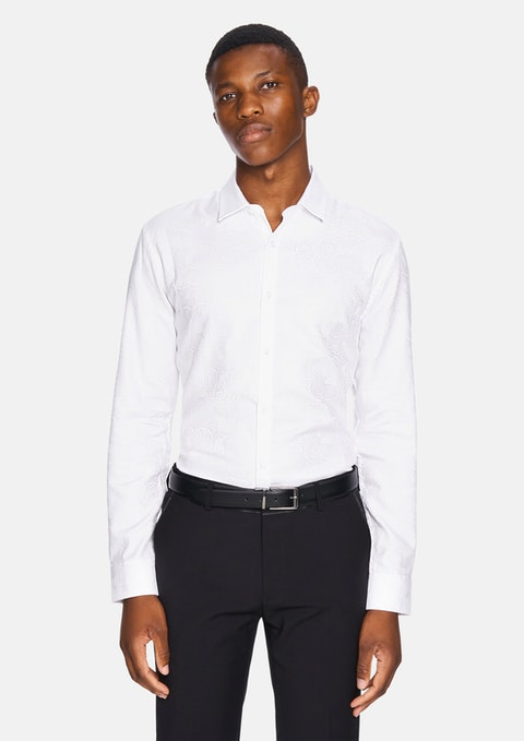White Zag Paisley Slim Fit Dress Shirt