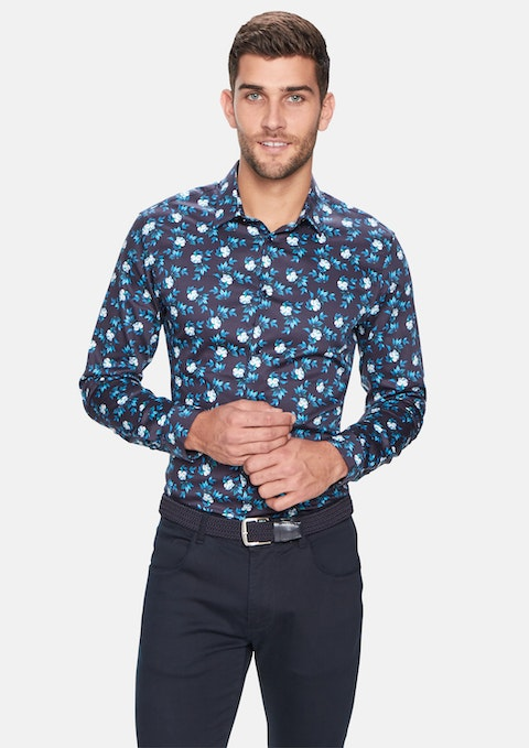 Dark Blue Colter Print Slim Shirt