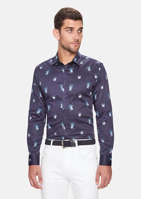 Dark Blue Parrot Floral Print Slim Shirt