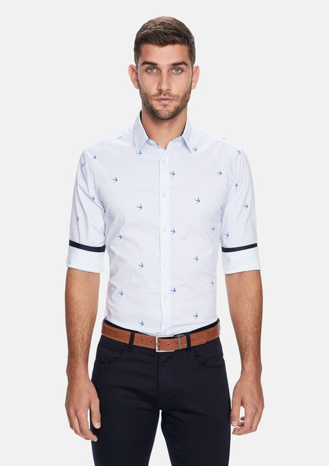 White Striped Bird Slim Fit Shirt