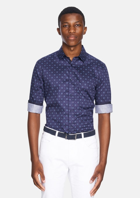 Navy Summit Print Slim Shirt