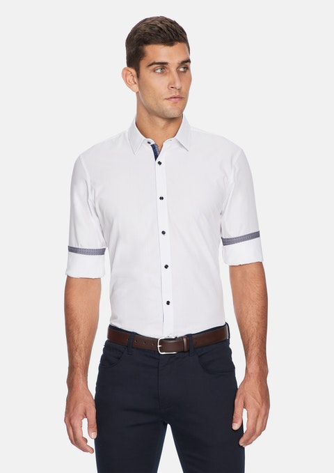 White Geo Contrast Slim Fit Shirt