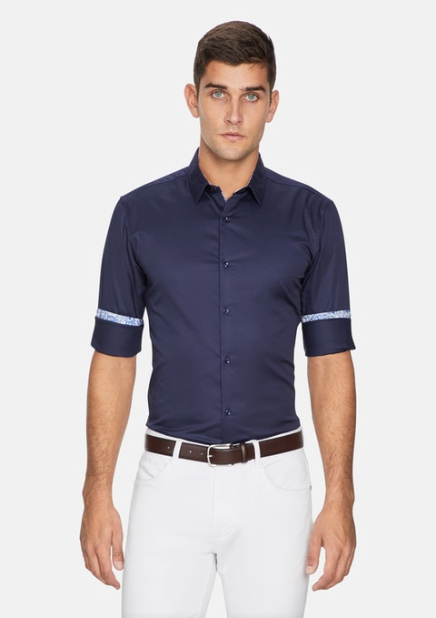 Navy Panorama Slim Fit Shirt