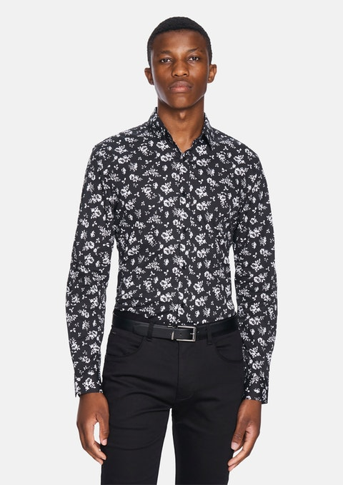 Black Tennesyn Floral Shirt