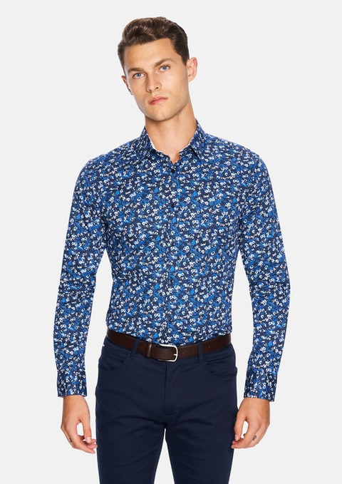 Dark Blue Everest Floral Slim Fit Shirt