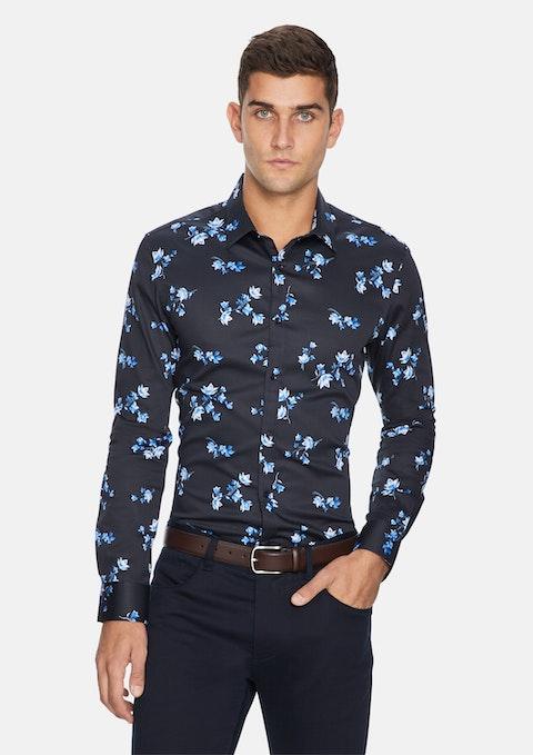 Dark Blue Apollo Floral Slim Shirt