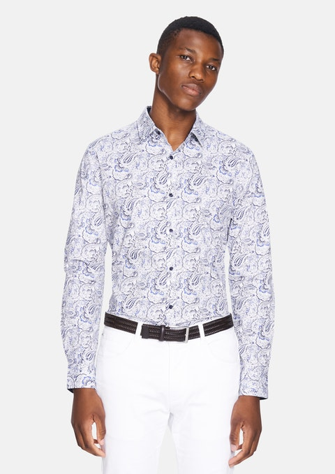 Blue Luv Paisley Slim Shirt