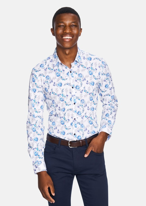 White Clapton Floral Slim Fit Shirt
