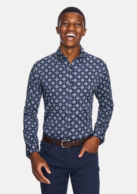 Dark Blue Aiden Slim Fit Shirt