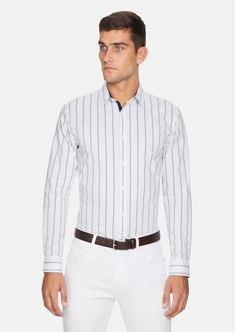 White Euro Stripe Slim Fit Shirt