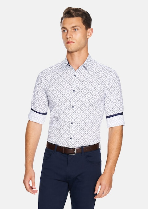 White Large Geo Slim Fit Shirt