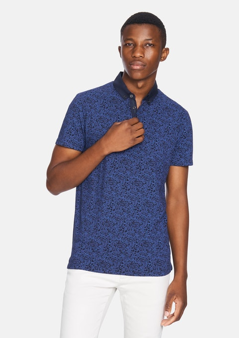 Navy Elvis Paisley  Polo