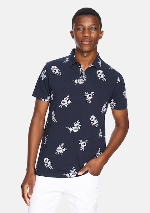 Navy Large Floral Polo