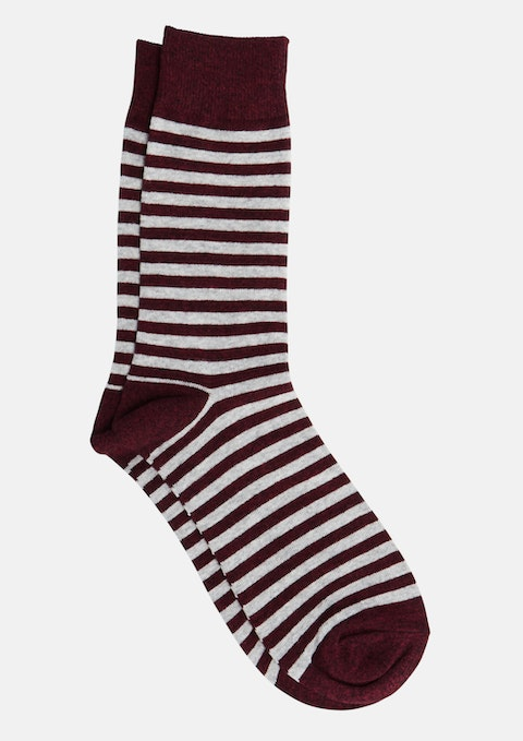 Burgundy Neat Stripe Socks