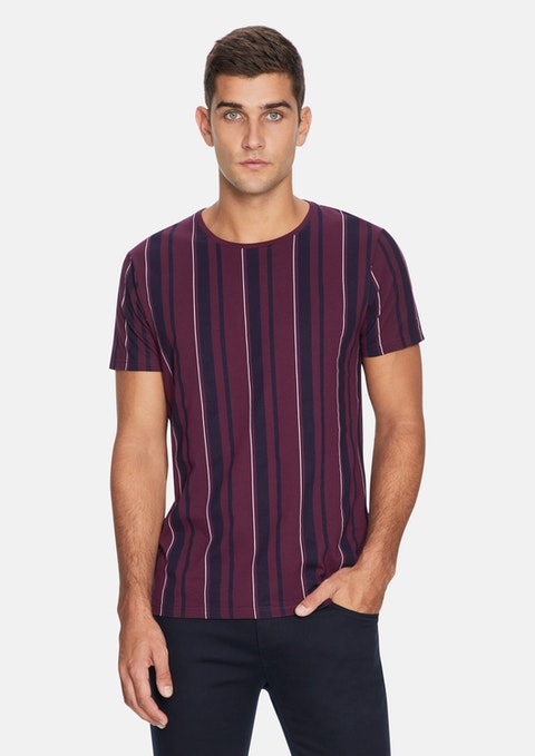 Burgundy Printed Stripe Tee