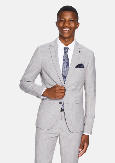 Silver Check Heath Skinny Check Suit Jacket