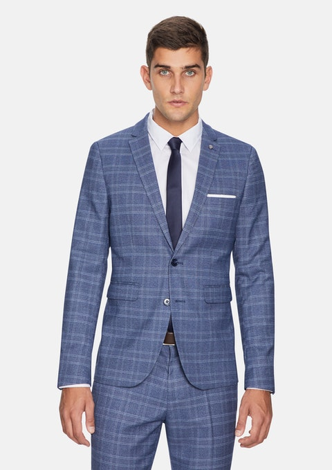 Grey Leo Skinny Check Suit Jacket