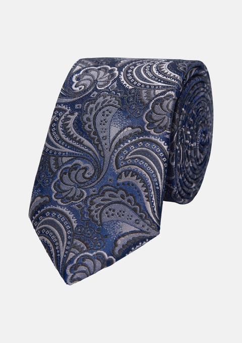 Navy/black Richie Paisley 6.5cm Tie