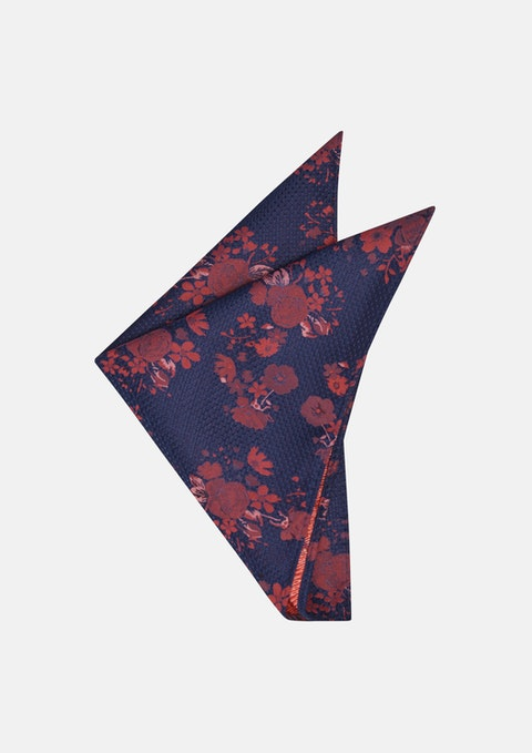 Navy/red Xavier Floral Pocket Square