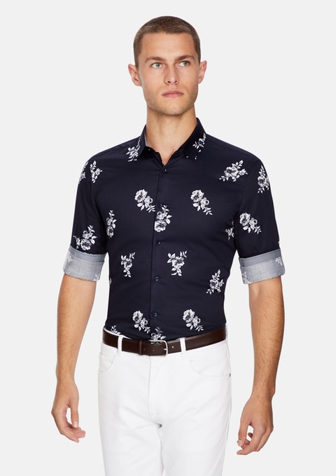 Dark Blue Hal Floral Slim Shirt