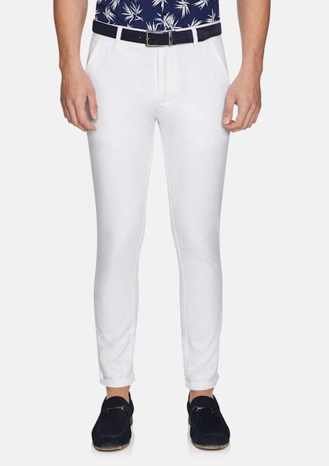 White Euro Linen Slim Chino