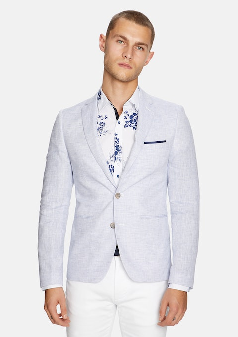 Ice Blue York Linen Blazer
