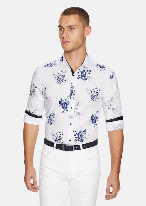 White Amalfi Floral Slim Shirt