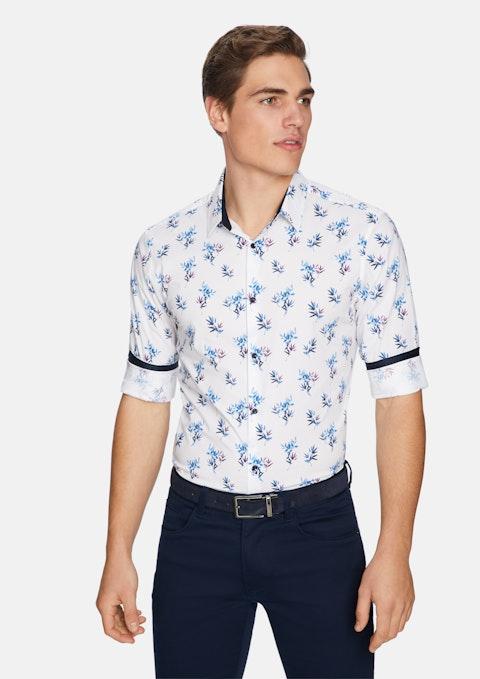 White Fern Floral Slim Shirt