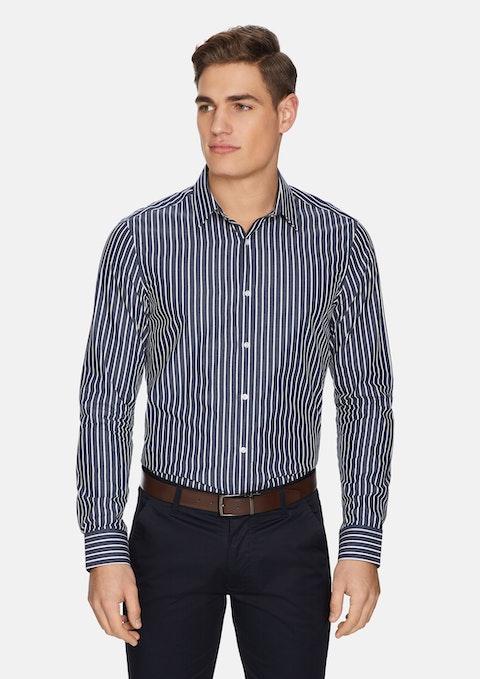 Dark Blue Coby Stripe Shirt