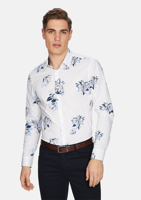 White Bellagio Floral Slim Shirt