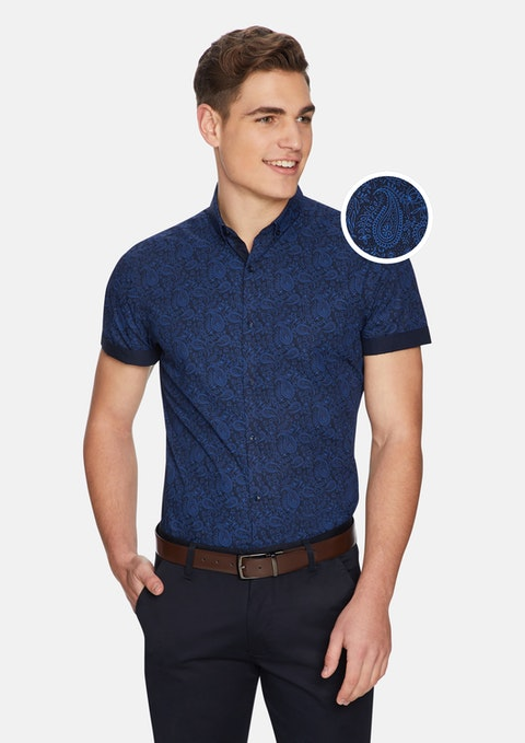 Blue Pat Paisley Slim Shirt