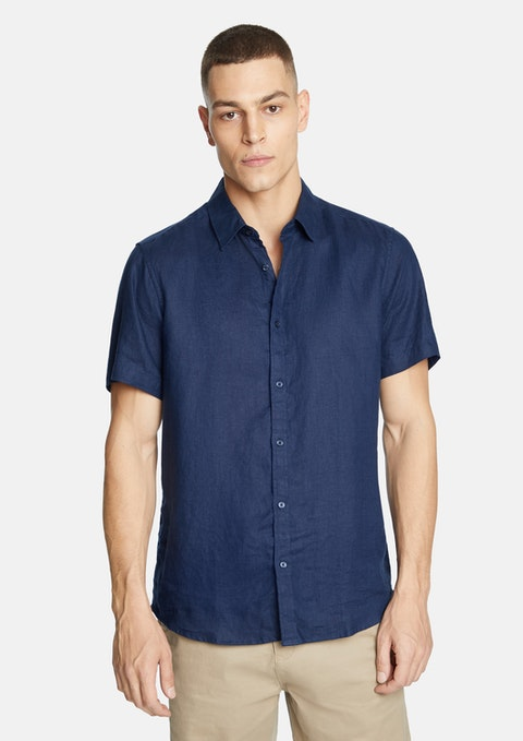 Dark Blue Lewis Linen Shirt