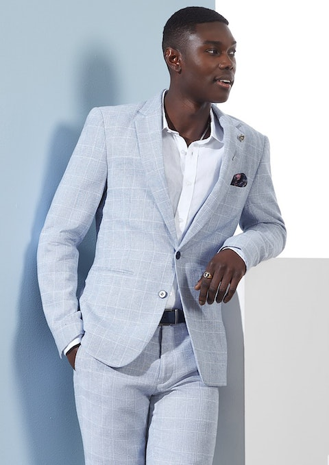 Ice Blue Wilson Linen Slim  Suit Jacket