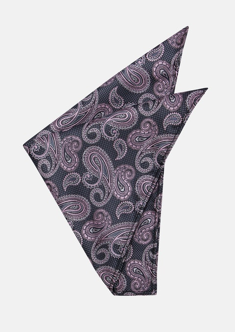 Charcoal/pink Moore Pocket Square